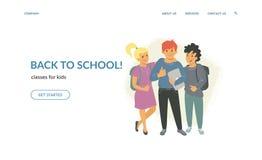 De nuevo a las clases de escuela para los niños creativos ilustración del vector