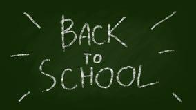De nuevo a letras de la escuela en una pizarra verde Pare la animación colocada estilo del movimiento libre illustration
