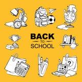 De nuevo a los iconos de la escuela fijados Imagen de archivo libre de regalías