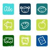 De nuevo a los iconos del doodle de la escuela fijados y a los elementos. Fotografía de archivo