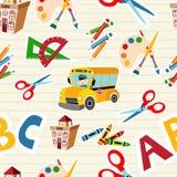 De nuevo a los materiales consumibles y a las herramientas de la escuela Imagen de archivo libre de regalías