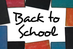 De nuevo a marco del libro de escuela Foto de archivo libre de regalías