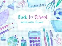 De nuevo a marco de la acuarela de la escuela con las fuentes de escuela coloridas fotografía de archivo libre de regalías