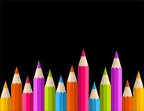De nuevo a modelo de la bandera del lápiz del arco iris de la escuela Imágenes de archivo libres de regalías