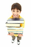 De nuevo a niño del muchacho de escuela con los libros de texto Fotos de archivo