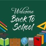De nuevo a palabras del título de la escuela con los artículos realistas de la escuela con Colo ilustración del vector