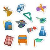 De nuevo a sistema colorido de la etiqueta engomada de la escuela Foto de archivo libre de regalías