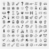 100 de nuevo a sistema del icono del mano-drenaje del garabato de la escuela Foto de archivo