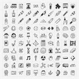 100 de nuevo a sistema del icono del mano-drenaje del garabato de la escuela Fotografía de archivo