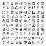 De nuevo a sistema del icono del mano-drenaje del garabato de la escuela Fotografía de archivo libre de regalías