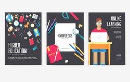De nuevo a sistema de tarjetas de información de la escuela Plantilla de flyear, revistas, carteles, cubierta de libro, banderas  ilustración del vector