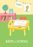 De nuevo a tarjeta de la escuela, diseño del cartel Interior preescolar de la sala de clase de la guardería stock de ilustración