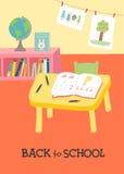 De nuevo a tarjeta de la escuela, diseño del cartel Interior preescolar de la sala de clase de la guardería ilustración del vector