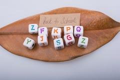 De nuevo a tema de la escuela con los cubos de la letra Fotos de archivo