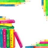 De nuevo a tema de la escuela, marco de los elementos de la acuarela libre illustration