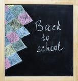 De nuevo a tiza de la escuela en una pizarra Imagen de archivo libre de regalías