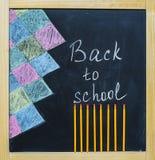 De nuevo a tiza de la escuela en una pizarra Imagen de archivo