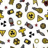 De Nuklearelementen overhandigen getrokken naadloos patroon, witte achtergrond Royalty-vrije Illustratie