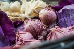 De nuttige en geurige hoofden van rijp knoflook oogstten oogsten van de huistuin in een rieten bruine mand van wijnstokken Knoflo stock foto