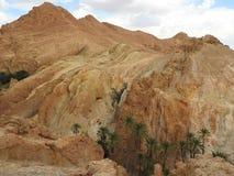 De oase van de Chebikaberg op de grens van de Sahara, duidelijke blauwe hemel, Tunesië, Afrika stock foto