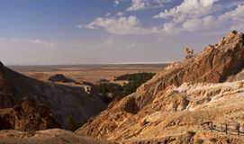 De oase van de berg, Tunesië Stock Afbeelding