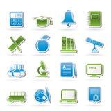 De objecten van het onderwijs en van de school pictogrammen Royalty-vrije Stock Foto