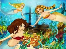 De oceaan en de meerminnen Royalty-vrije Stock Foto