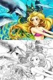 De oceaan en de meerminnen Royalty-vrije Stock Afbeeldingen