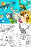 De oceaan en de meerminnen Stock Foto's