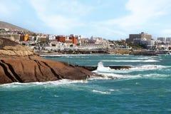 De oceaan en de stads de Canarische Eilanden van Las Amerika van Tenerife Royalty-vrije Stock Fotografie