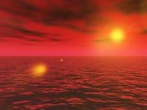 De oceaan van de woestijn bij de zonsondergang Royalty-vrije Stock Afbeeldingen