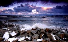 De oceaan van de zonsondergang Royalty-vrije Stock Afbeelding