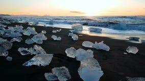De oceaan van de de gletsjeraard van ijsbergenijsland stock videobeelden