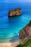 de oceaan van het landschapsstrand in Asturias, Spanje Stock Afbeelding