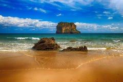 de oceaan van het landschapsstrand in Asturias, Spanje Royalty-vrije Stock Afbeeldingen