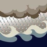 De oceaan Vector van het Onweer Royalty-vrije Stock Afbeeldingen