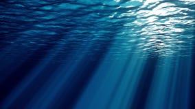 De oceaandiegolfoppervlakte van onderwaterstralen van licht wordt gezien maakt hun manier door de oceaan naadloze lijn van de gol royalty-vrije illustratie
