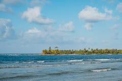 De oceaangolven blauwe hemel en kust van het palmeiland - Stock Fotografie