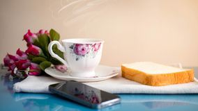 De ochtend is perfect voor uw favoriete koffie, Stock Afbeelding