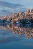 De Ochtend van de winter op een Meer stock fotografie