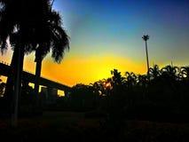 De ochtend van het landschapssilhouet van zonsopgang in Bangkok Thailand Stock Afbeelding