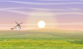 De Ochtend van de zomer Groene gebied, molen en loods Het leven buiten de stad Landbouwbedrijf en landbouw royalty-vrije illustratie