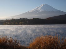De ochtendnevel en zet Fuji op Royalty-vrije Stock Afbeelding
