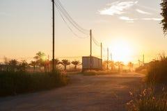 De ochtendzon heeft een mooi oranje licht stock foto's