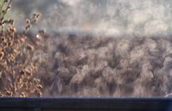 De ochtendzon leidt damp tot slepen van houten omheining royalty-vrije stock foto