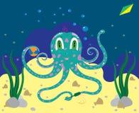 De octopus het jonge geitje speelt in zand Stock Fotografie