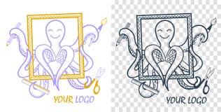 De octopus van de embleemontwikkeling stock illustratie