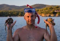 De octopussen van de mensenvangst Egeïsche overzees, Griekenland Royalty-vrije Stock Foto's
