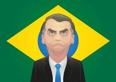 17 de octubre de 2018 - caricatura de Jair Bolsonaro delante de la bandera brasileña stock de ilustración