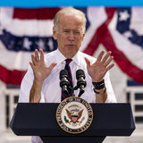 13 DE OCTUBRE DE 2016: Campañas de vicepresidente Joe Biden para Nevada Democratic U S Candidato Catherine Cortez Masto del senad Imagen de archivo